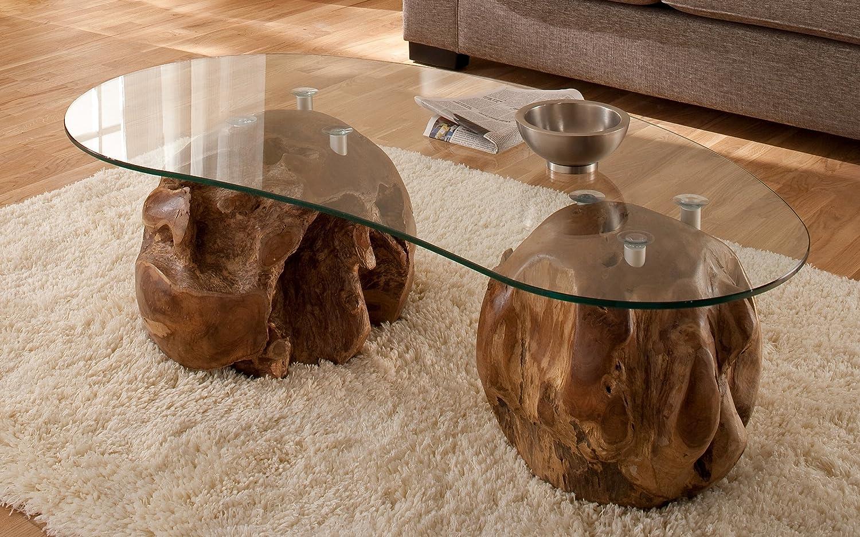 3-3-1040: Couchtisch - Wohnzimmertisch - Teakholz massiv - mit Glasplatte - 137cmx45cm