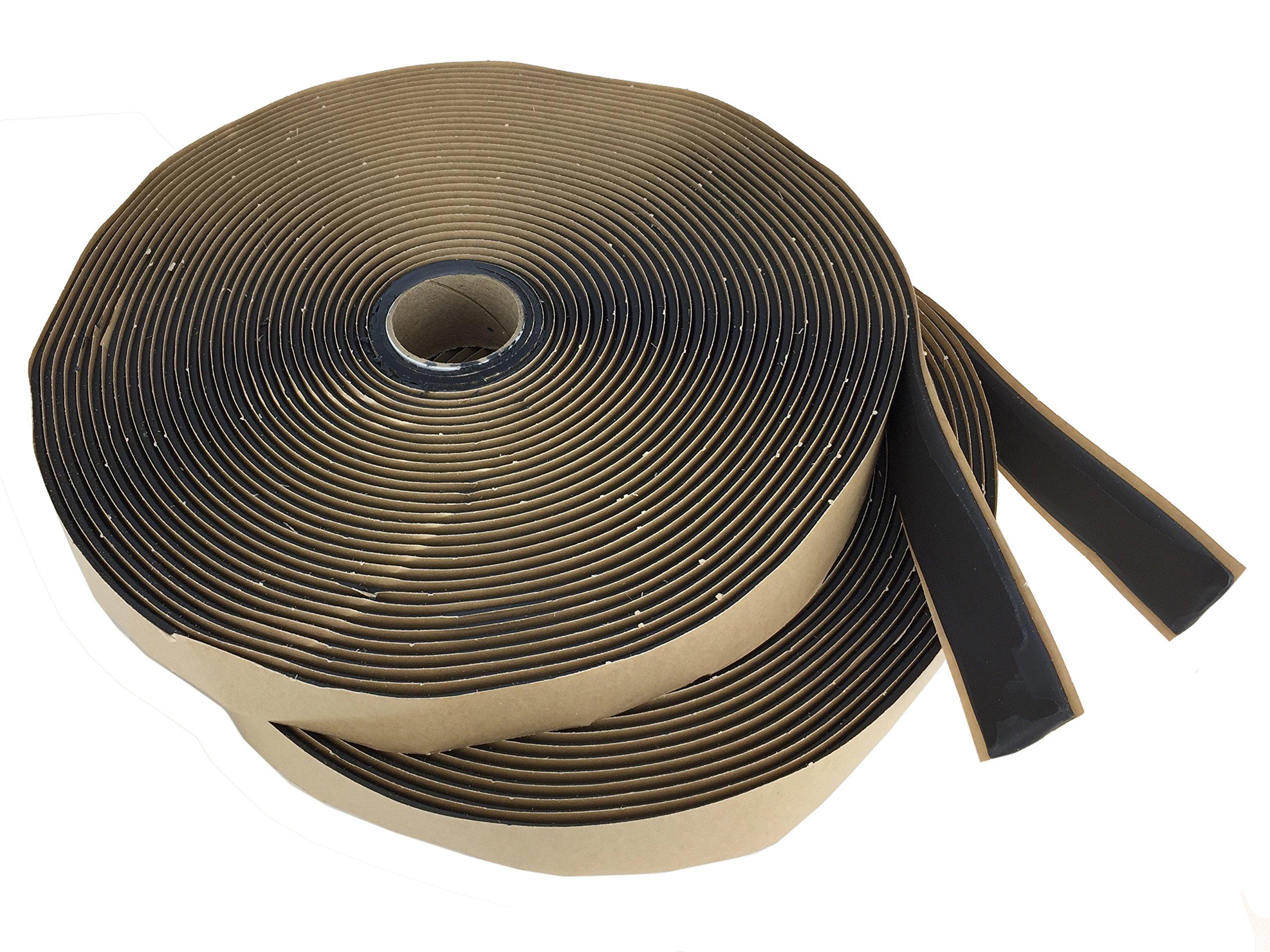 GSSI Sealants Butyl Tape 1/8'' x 1'' x 100' (2 Rolls at 50') Black