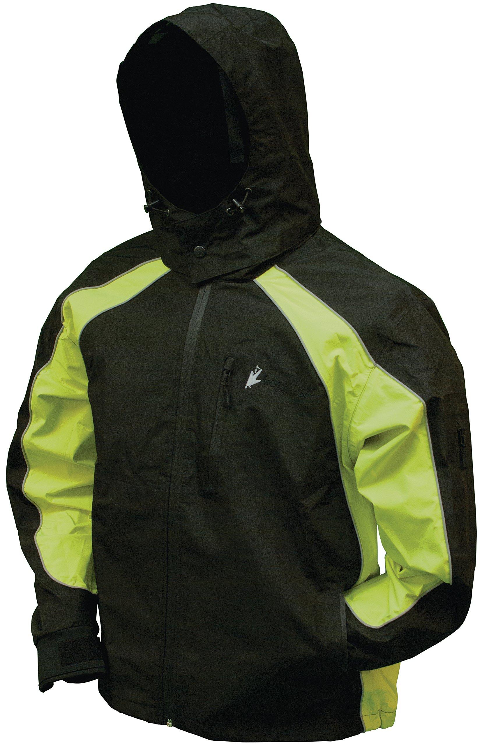 Frogg Toggs NT65119 Toadz Kikker II Reflective Waterproof Rain Jacket, Black with Hivis IIme, X-Large