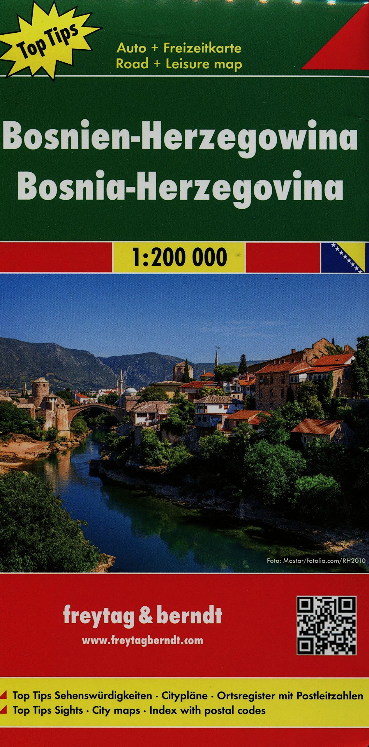 Bosnia Herzegovina Road Map 1200K English Spanish French