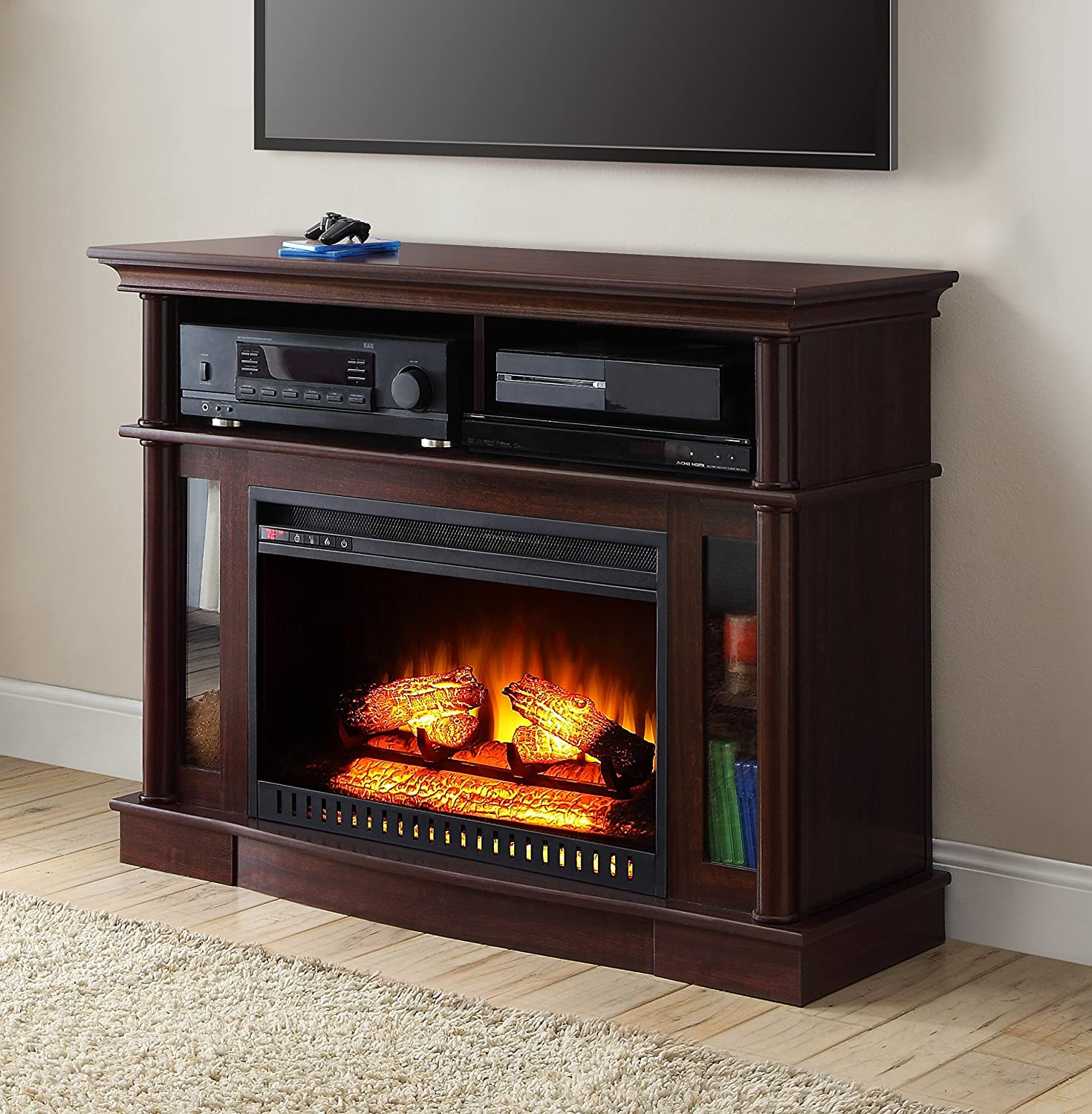 Cherry Finish Better Homes And Gardens Remote Control Ashwood Road Electric Fireplace Media Console For TV's Up To 45""
