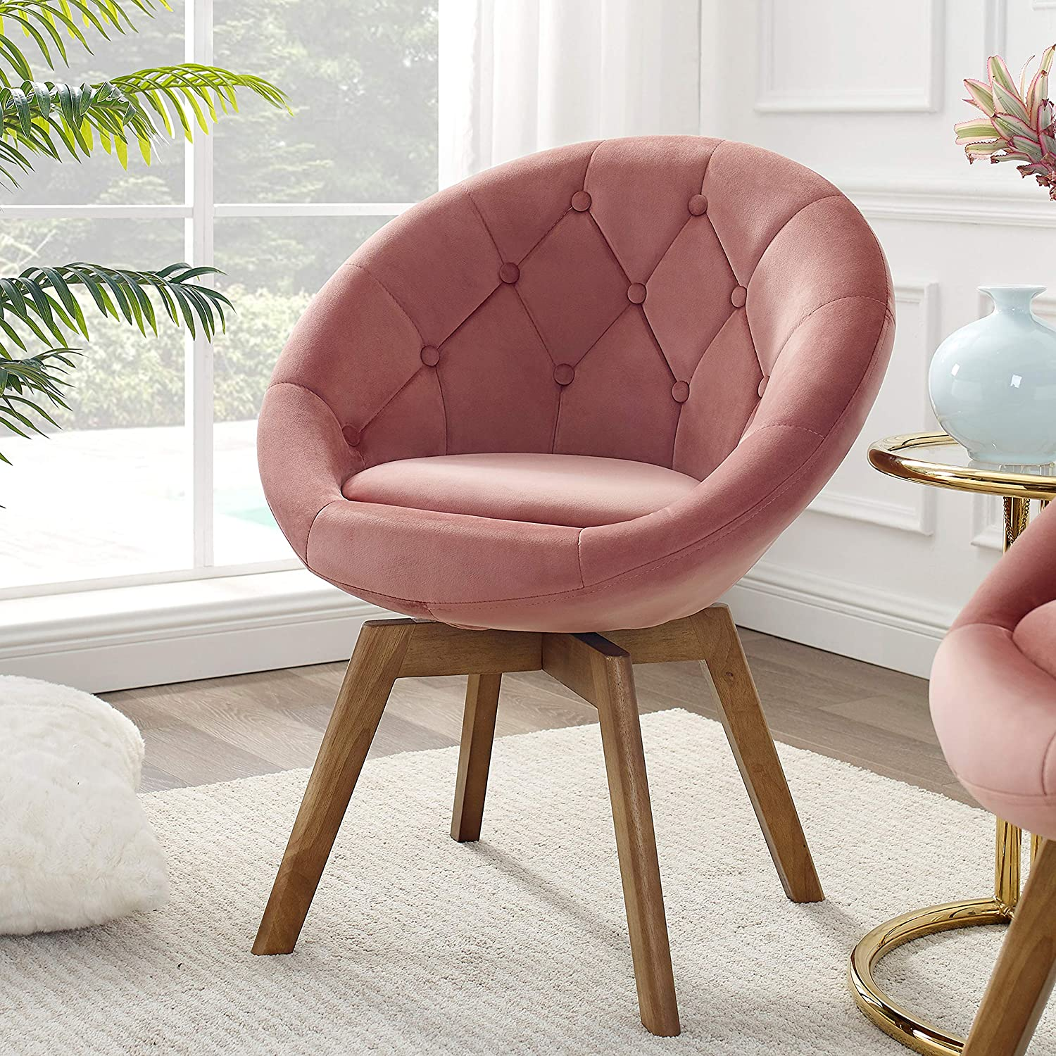 Volans Mid Century Modern Velvet Tufted Round Back Upholstered Swivel Accent Chair Pink with Wood Legs Vanity Chair, Home Office Desk Chair for Living Room Bedroom Study