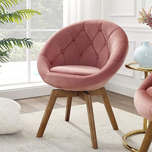 Amazon Com Volans Mid Century Modern Velvet Tufted Round Back Upholstered Swivel Accent Chair Pink With Wood Legs Vanity Chair Home Office Desk Chair For Living Room Bedroom Study Kitchen Dining