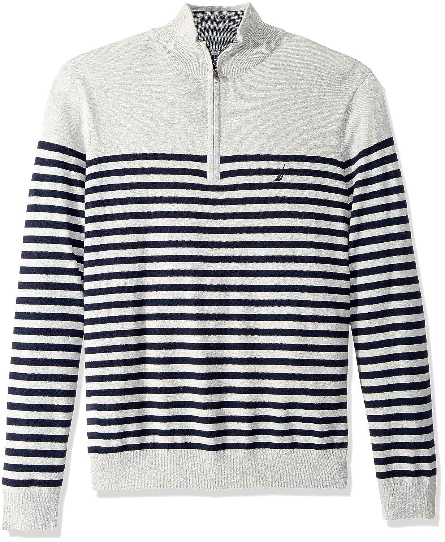 Nautica Mens Big and Tall Half-Zip Mock Neck Breton Sweater