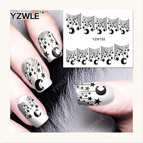 Y155 Star with The Moon Nail Art Stickers Water Transfer Decals Decorations  DIY - Amazon.com: Y155 Star With The Moon Nail Art Stickers Water Transfer