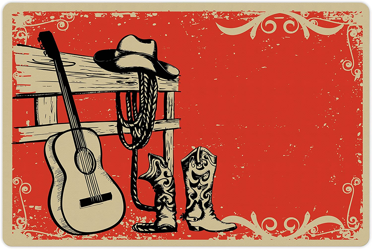Ambesonne Western Pet Mat for Food and Water, Image of Wild West Elements with Country Music Guitar and Cowboy Boots Retro Art, Rectangle Non-Slip Rubber Mat for Dogs and Cats, Beige Orange