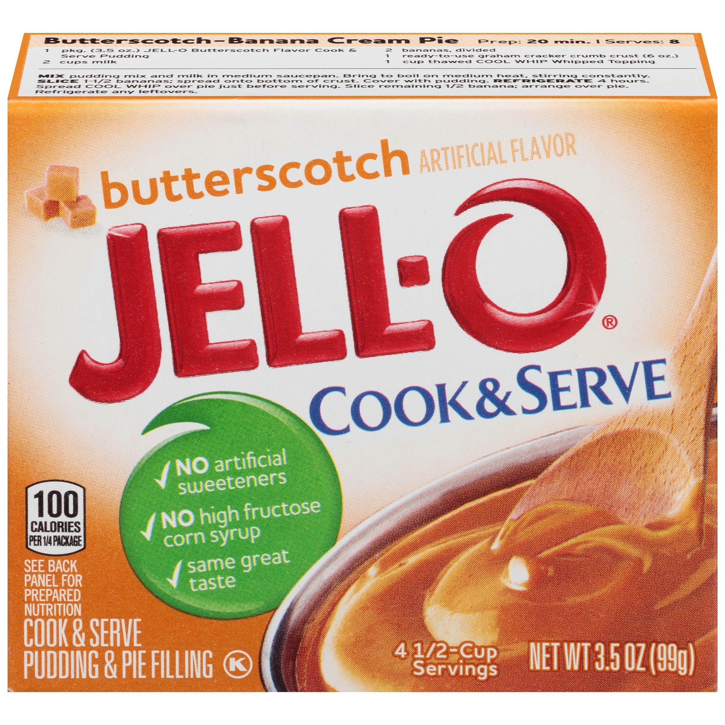 JELL-O Butterscotch Cook & Serve Pudding & Pie Filling Mix (3.5 oz Boxes, Pack of 6)