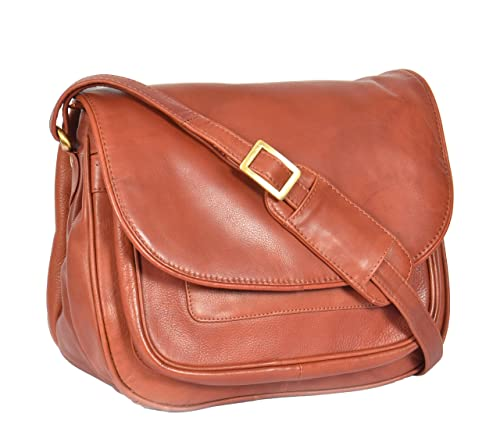 6684e6cd22a5 Womens Cross Body Leather Bag A95 Large Shoulder Multi Pockets Organiser  Brown