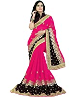 Siddeshwary Fab Georgette Saree (S-01_Pink Saree_Pink   Brown)