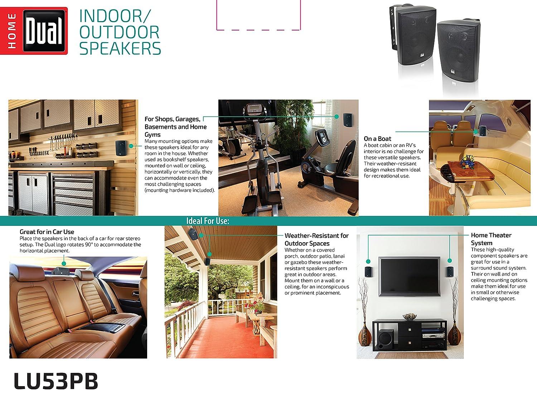 Dual Electronics Lu53pb 5 Inch 3 Way High Performance Wiring Outdoor Speakers To Stereo Indoor Bookshelf Studio Monitor With Swivel Brackets 125 Watts