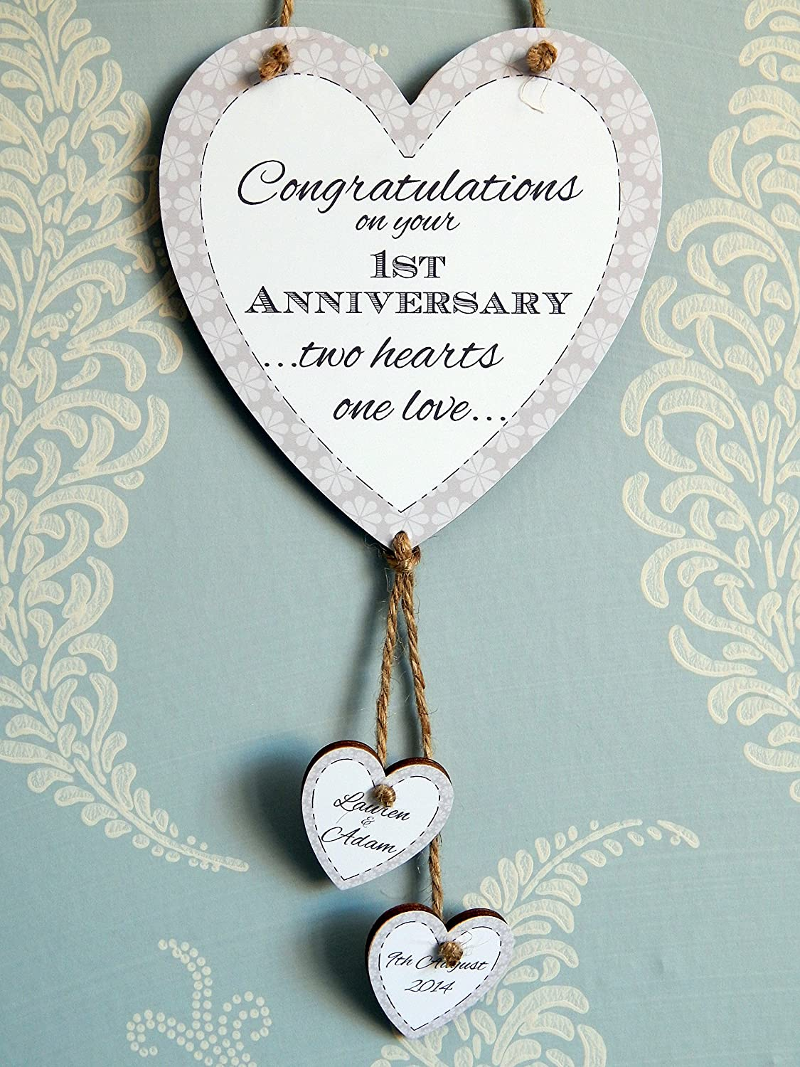 Two Hearts One Love Congratulations On Your 1st Wedding Anniversary Love Heart Plaque Personalised With The Names And Year Or Date Of Your Choice First Anniversary Gift With Hanging Hearts