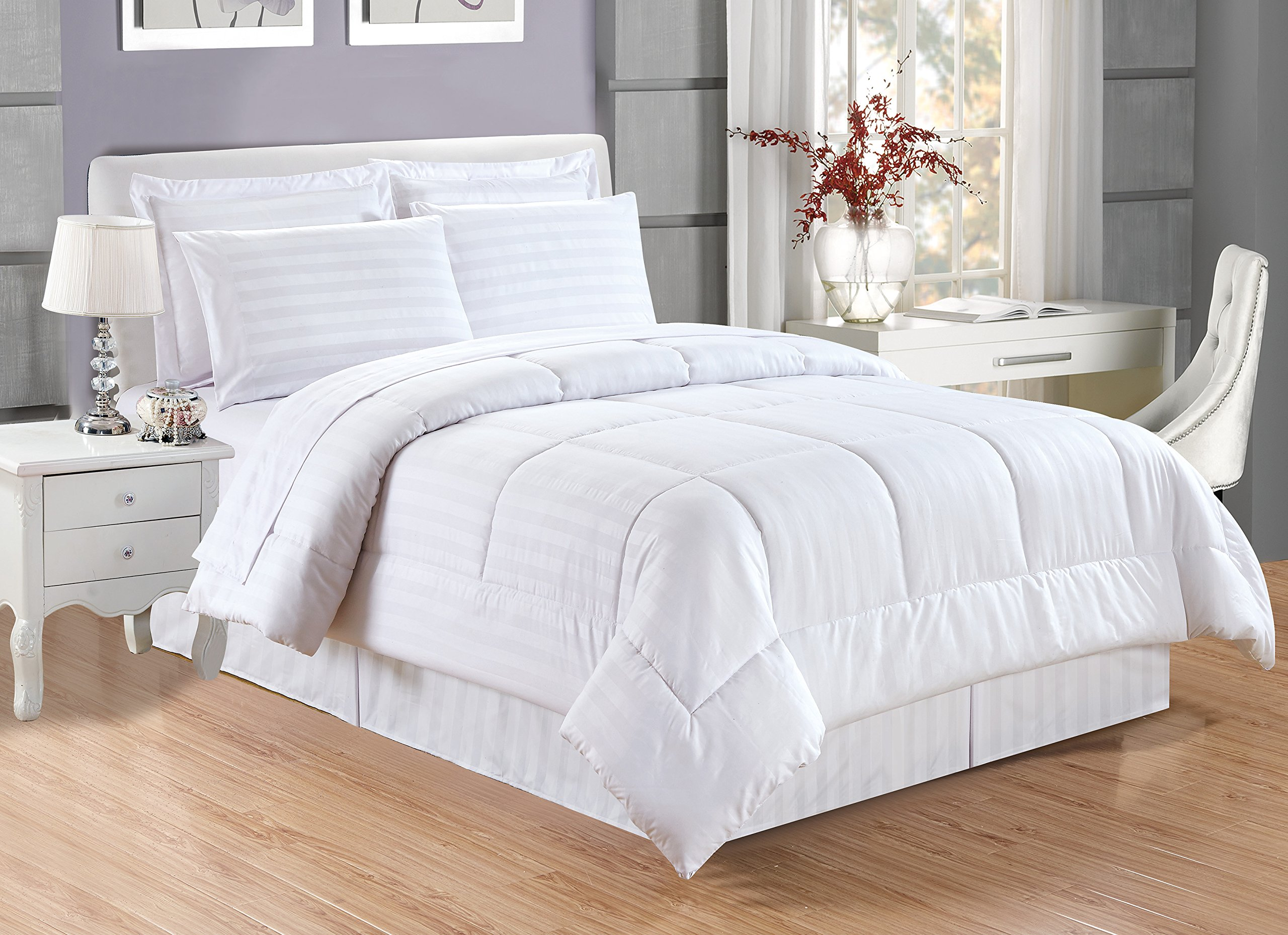 Grand Linen 8 piece Luxury WHITE Dobby Stripe Bed In A Bag Reversible Goose Down Alternative Comforter set, QUEEN SIZE with Matching Sheet Set, Hypoallergenic, Siliconized Fiberfill, Box Stitched by Grand Linen