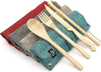 Jungle Culture   Set de cubiertos de bambú   Cubiertos de viaje de bambú ecológicos   Utensilios de madera reutilizables para cubiertos   Libre de ...