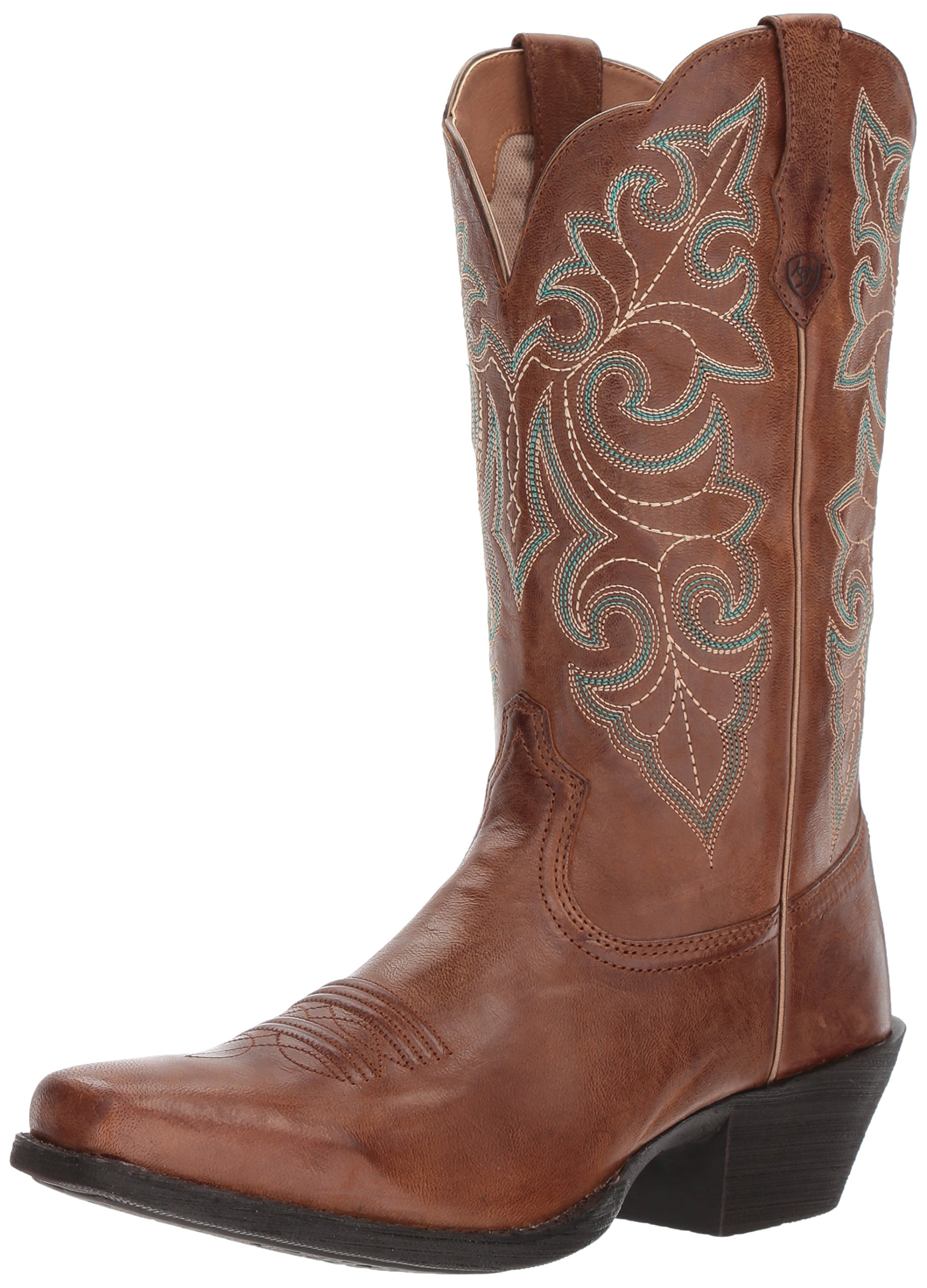 Ariat Women's Women's Round up Square Toe Western Boot, Wood, 6 B US