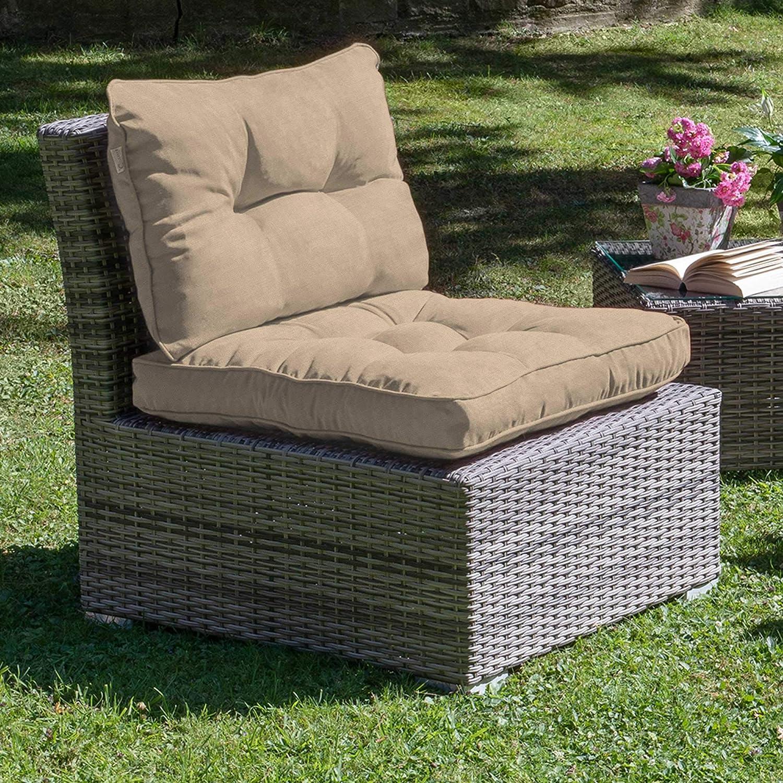Beautissu Flair Lounge Outdoor Kissen wasserabweisend Sitzkissen 50x50x10 cm Hellgrau Kissen f/ür drau/ßen Polster f/ür Rattan und Gartenm/öbel