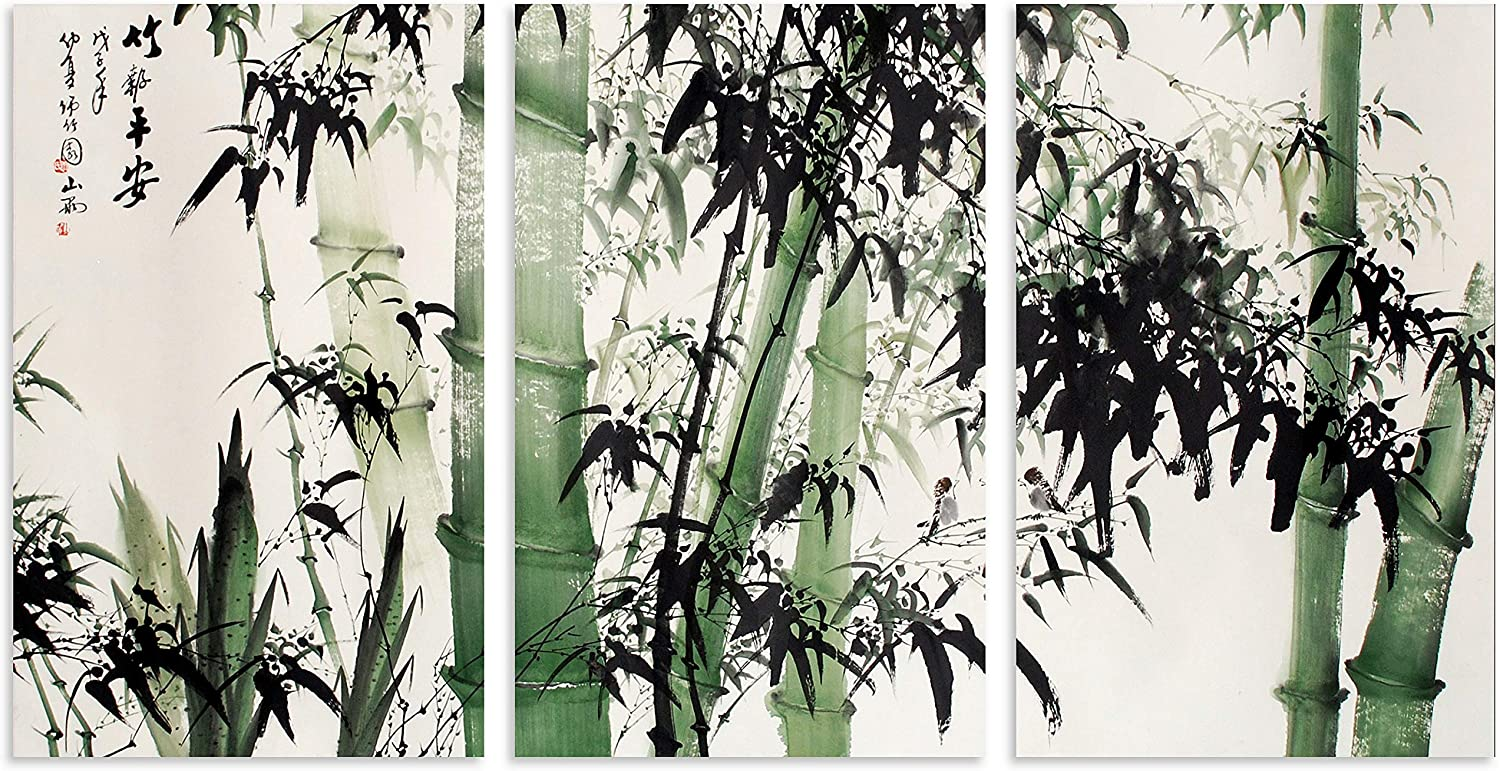 TutuBeer 3 Panel Bamboo Canvas Wall Art for Home Decor Large Chinese Painting of Bamboo Forest Nature Painting The Picture Print on Canvas Landscape The Pictures for Home Decor Wall, Ready to Hang