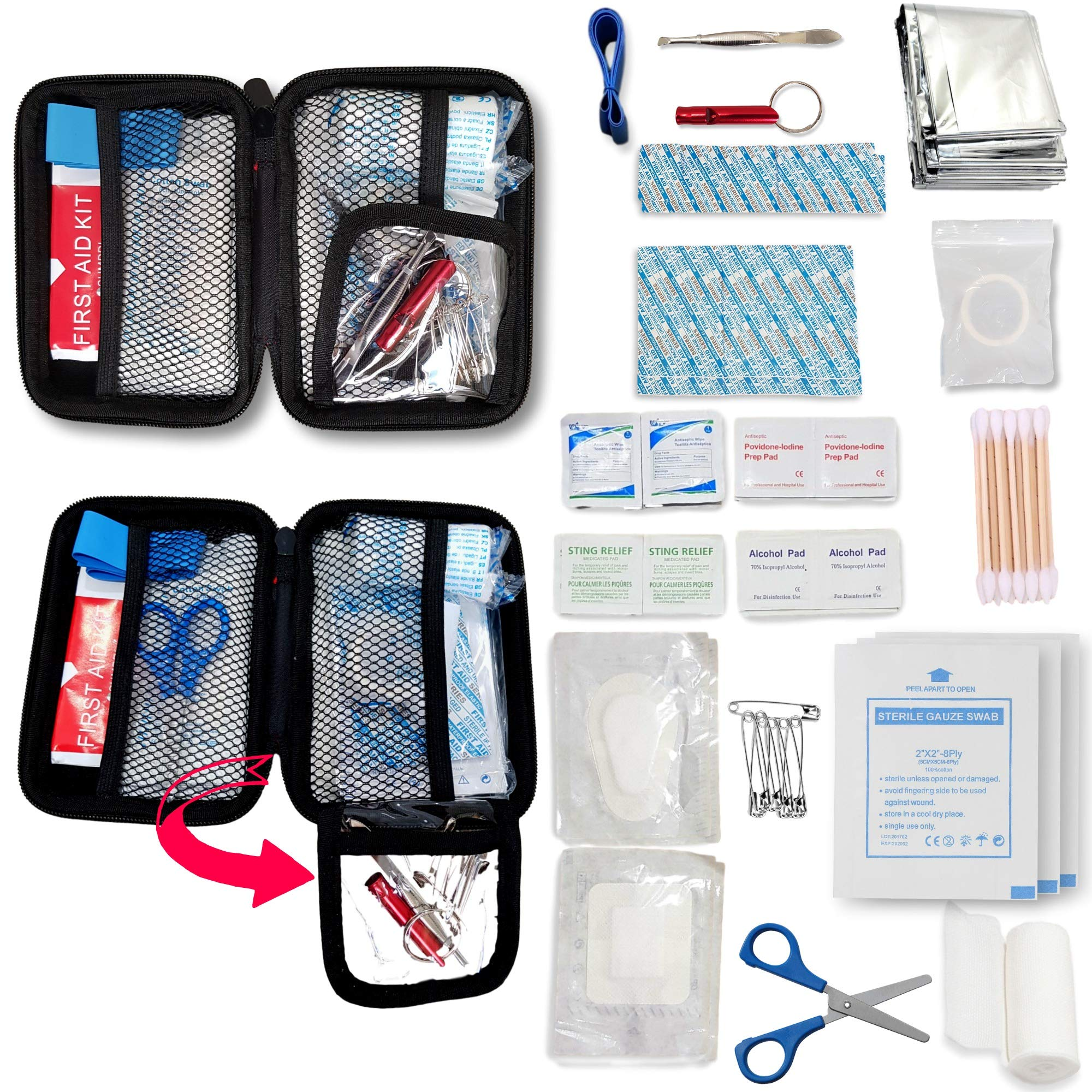 SUMPRI Mini First Aid Kit -Hard Shell Case Camping First Aid Kit -Compact & Lightweight Emergency Medical Supply -Thermal Blanket for Backpacking, Hiking, Travel, Home, Outdoor Or Car -80 Pieces