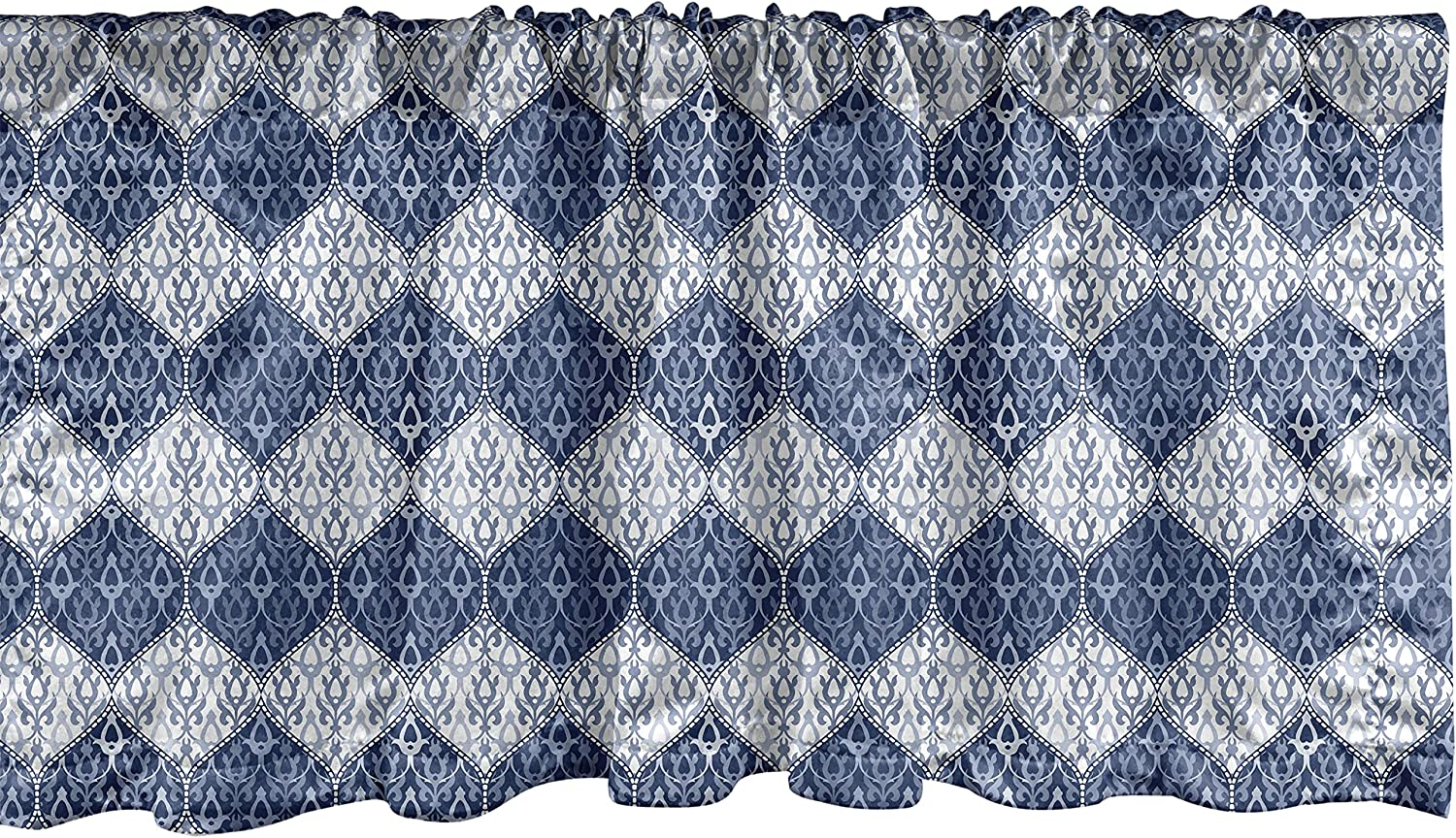 Ambesonne Navy Blue Window Valance, Oriental Pattern in Patchwork Horizontal Design Eastern Asian, Curtain Valance for Kitchen Bedroom Decor with Rod Pocket, 54