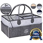 Baby Diaper Caddy Organizer | Storage Basket for Nursery Changing Table | Large Portable Car Travel Tote Carrier | Shower Gift | Newborn Registry Must Haves | Gender Neutral Felt Bag for Girls - Boys