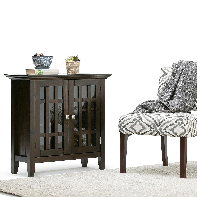 Amazon.com: Simpli Home Bedford Solid Wood Low Storage, Dark Tobacco ...