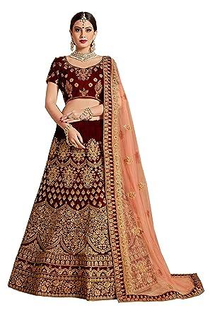 c1c11cef059 RAMDEV EMPERIO Pure Velvet   Net Bridal Lehenga Choli for girls(Maroon