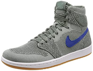 reputable site cc5c3 09b96 Image Unavailable. Image not available for. Color  Nike Jordan Men s Air 1  Retro HI Flyknit, Clay Green White Hyper Cobalt