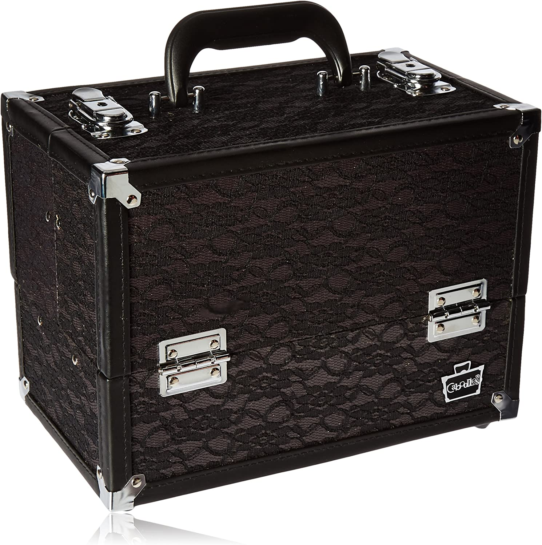 Caboodles Make Me Over 4 Tray Train Case, Cosmetic Storage Case Organizer, Black Lace, 3.5 Lb