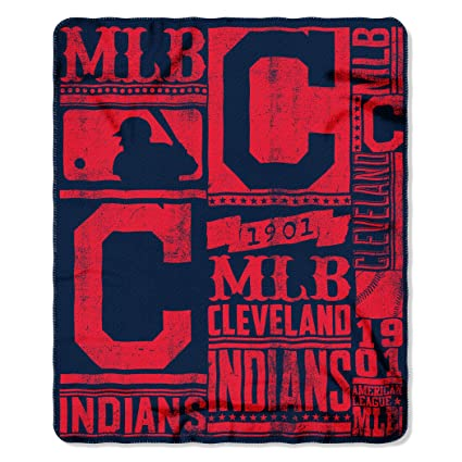 new style a569c e8286 The Northwest Company MLB Cleveland Indians Strength Fleece Throw Blanket  50-inch by 60-inch, Red