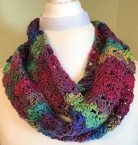 Amazoncom Stained Glass Shell Crochet Infinity Scarf Handmade