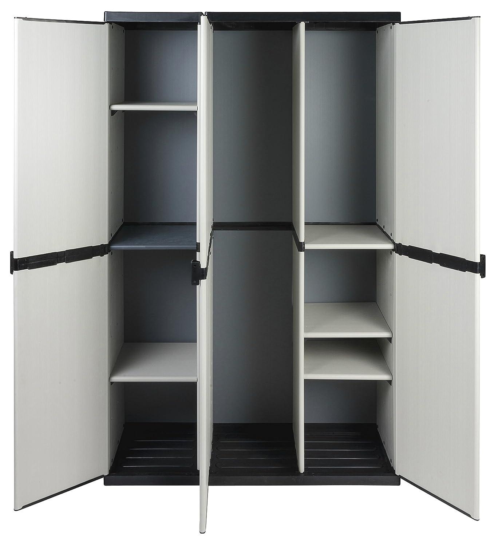 Modularer Universal Kunststoffschrank mit drei Tü ren, Spind/Freifach und hö henverstellbaren Bö den. Robuste Ausfü hrung, in Grau. Maß e BxTxH : 102 x 39,5 x 168 cm. Kreher
