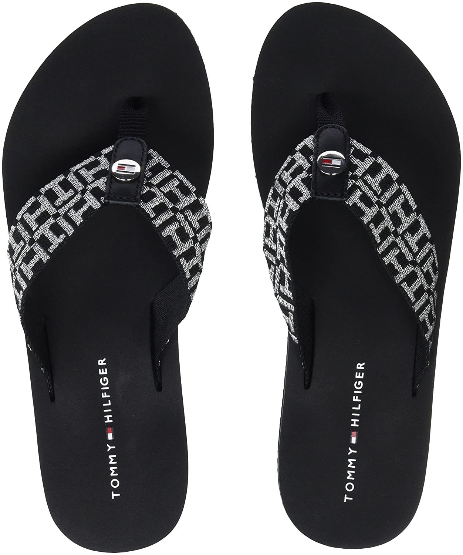 Tommy Hilfiger Damen Flexible Essential Beach Sandal Zehentrenner, Schwarz (Black 990), 37 EU