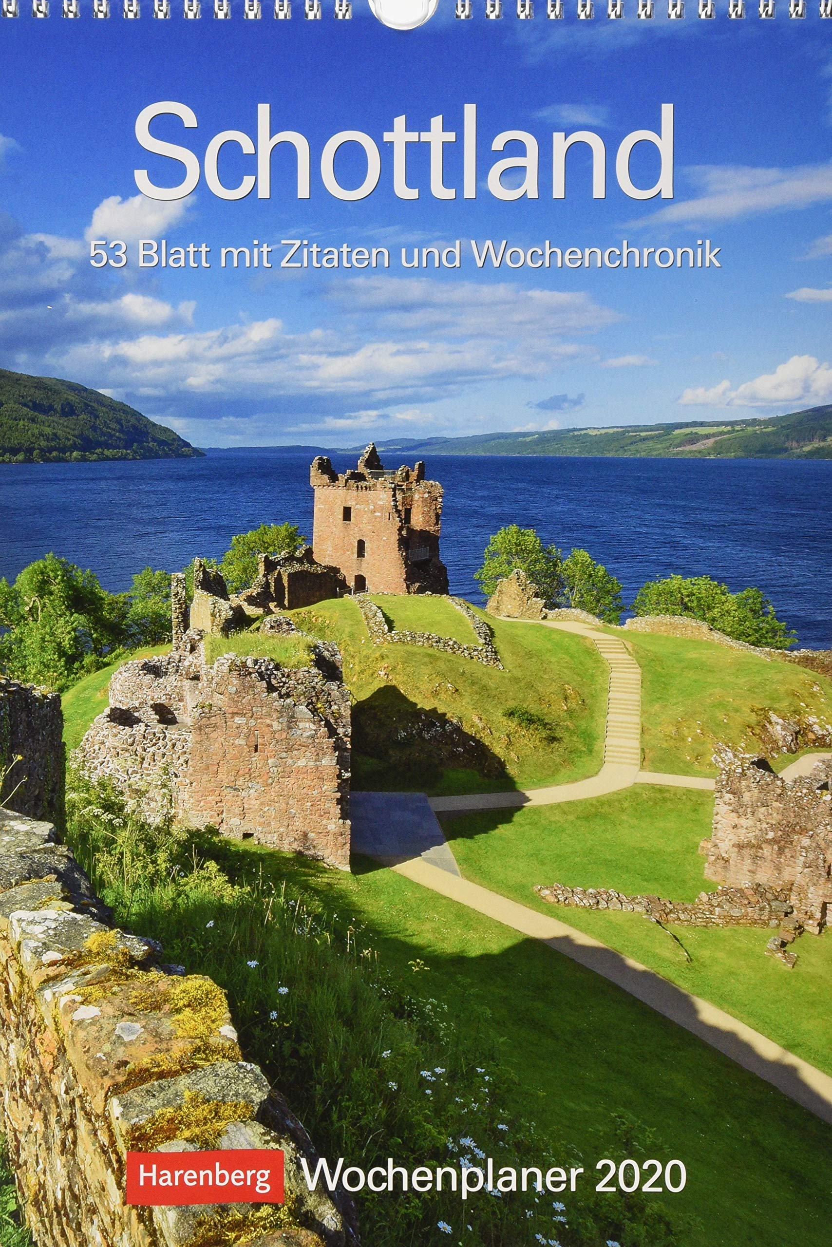 Schottland Wochenplaner. Wandkalender 2020. Wochenkalendarium. Spiralbindung. Format 25 X 355 Cm