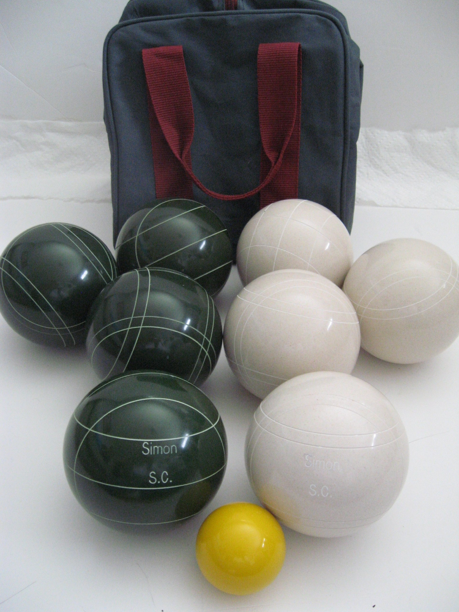 Premium Quality Engraved Bocce Package - 110mm Epco White and Green Balls with Engraving [Misc.] by Epco