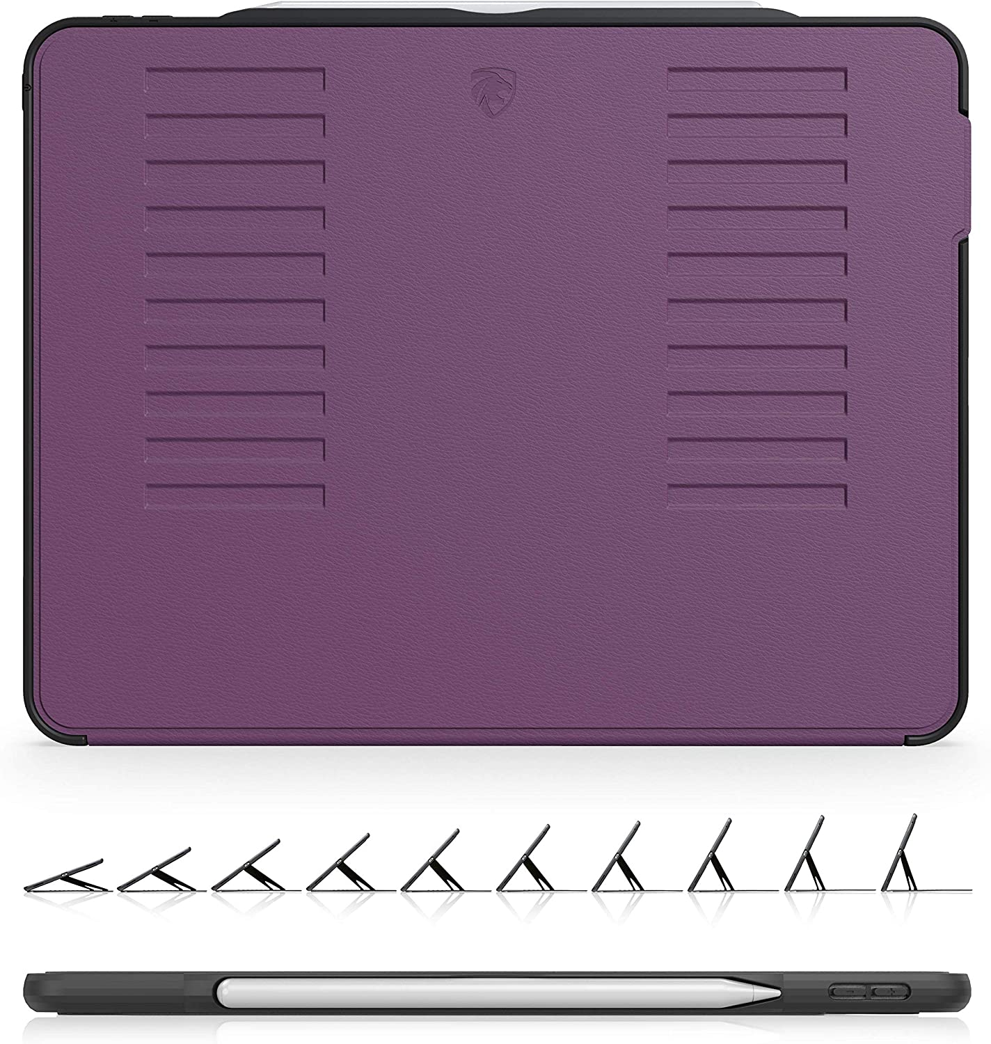 The Muse Case - 2018 iPad Pro 12.9 inch 3rd Gen (Old Model) - Very Protective But Thin + Convenient Magnetic Stand + Sleep/Wake Cover by ZUGU CASE (Purple) (Model #'s A1876, A2014, A1895, A1983)