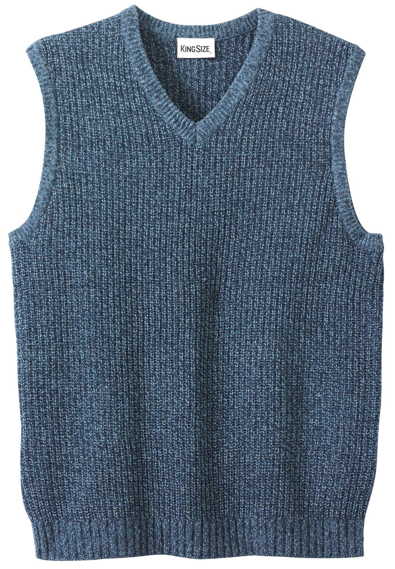 KingSize Men's Big & Tall Shaker Knit V-Neck Sweater Vest, Navy Marl Tall-4XL by KingSize