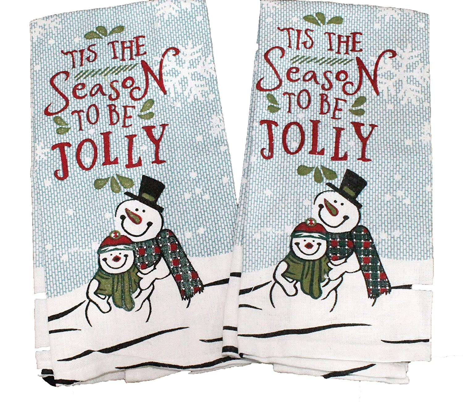 2 Pc Tis The Season Snowman Kitchen Towel Set Tapestry Design Winter Snowman Decor Set - Holiday Kitchen Towel Set - Comes in an organza bag for giving!
