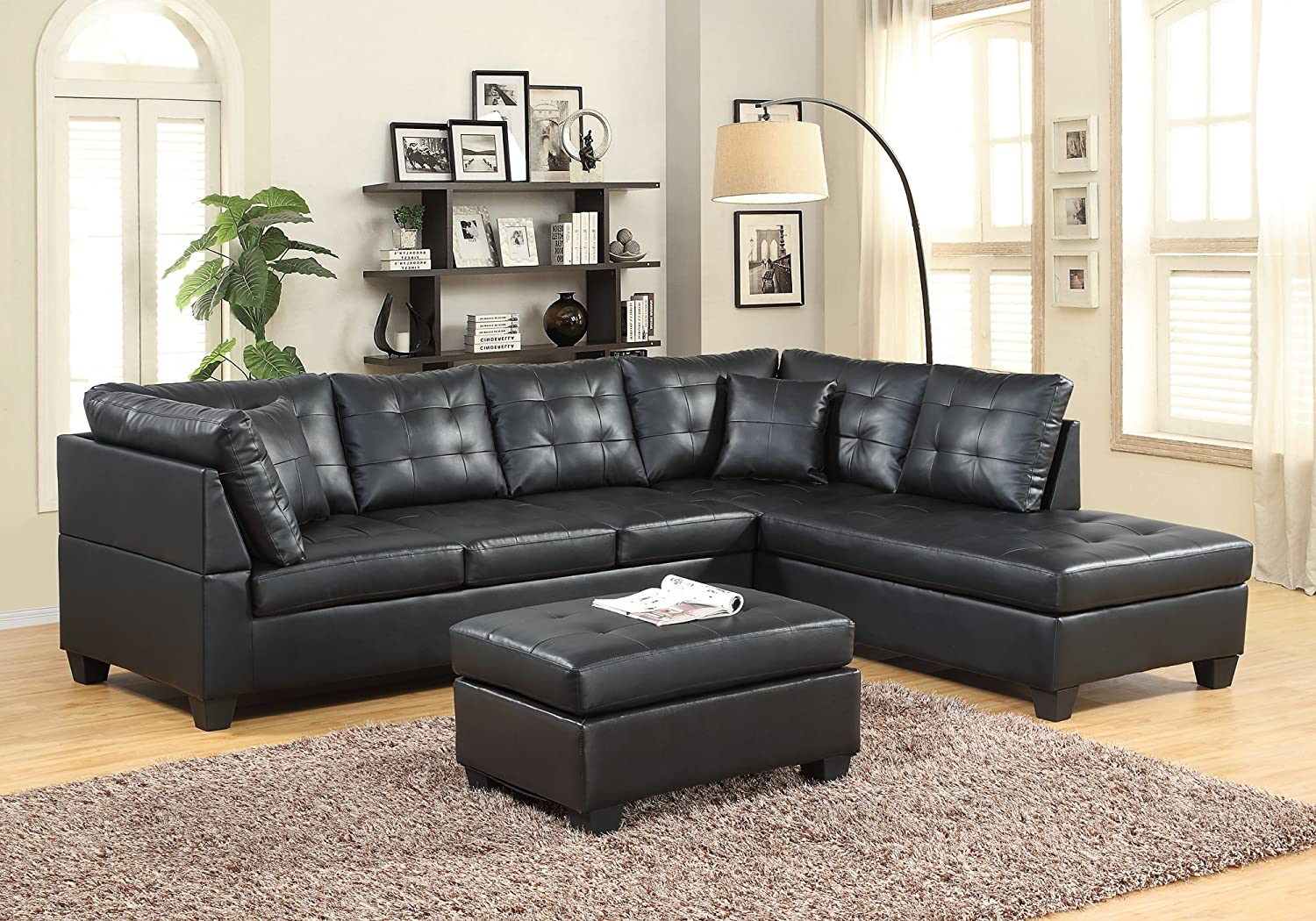 Amazon com gtu furniture pu leather living room furniture sectional sofa set in black red with ottoman black kitchen dining