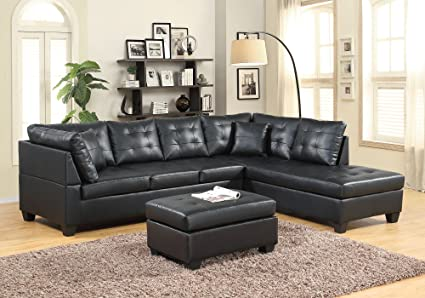 GTU Furniture Pu Leather Living Room Furniture Sectional Sofa Set in  Black/Red (Without Ottoman, Black)