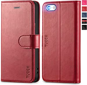 TUCCH iPhone SE (2016 Edition) Wallet Case, iPhone 5s 5 Case, Premium PU Leather Magnetic Closure Flip Card Slots Stand [TPU Shockproof Interior Protect Case] Compatible with iPhone SE/5s/5, Dark Red