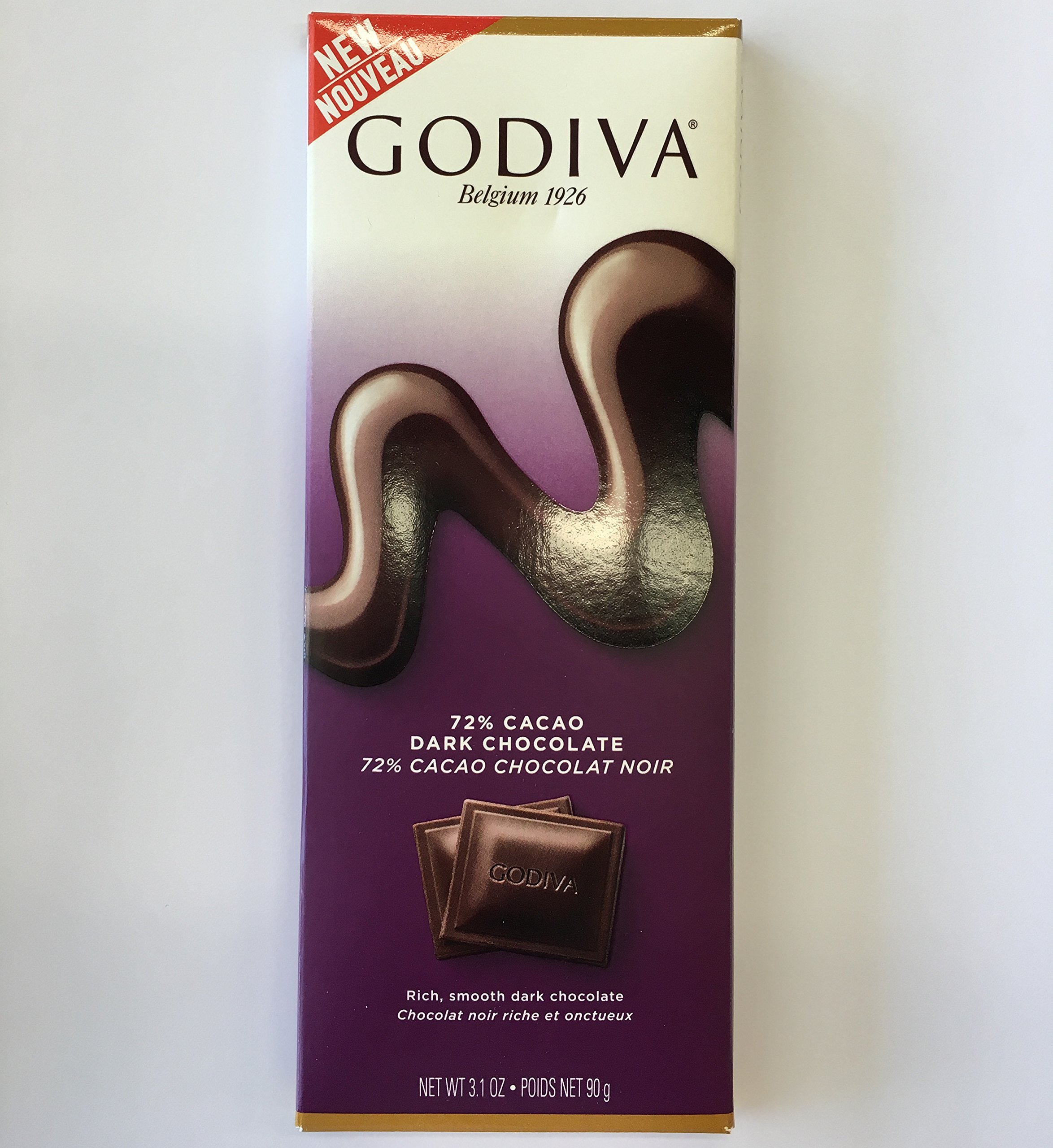 Godiva 72% Cacao Dark Chocolate Bar, 3.1 Ounces, Pack of 5