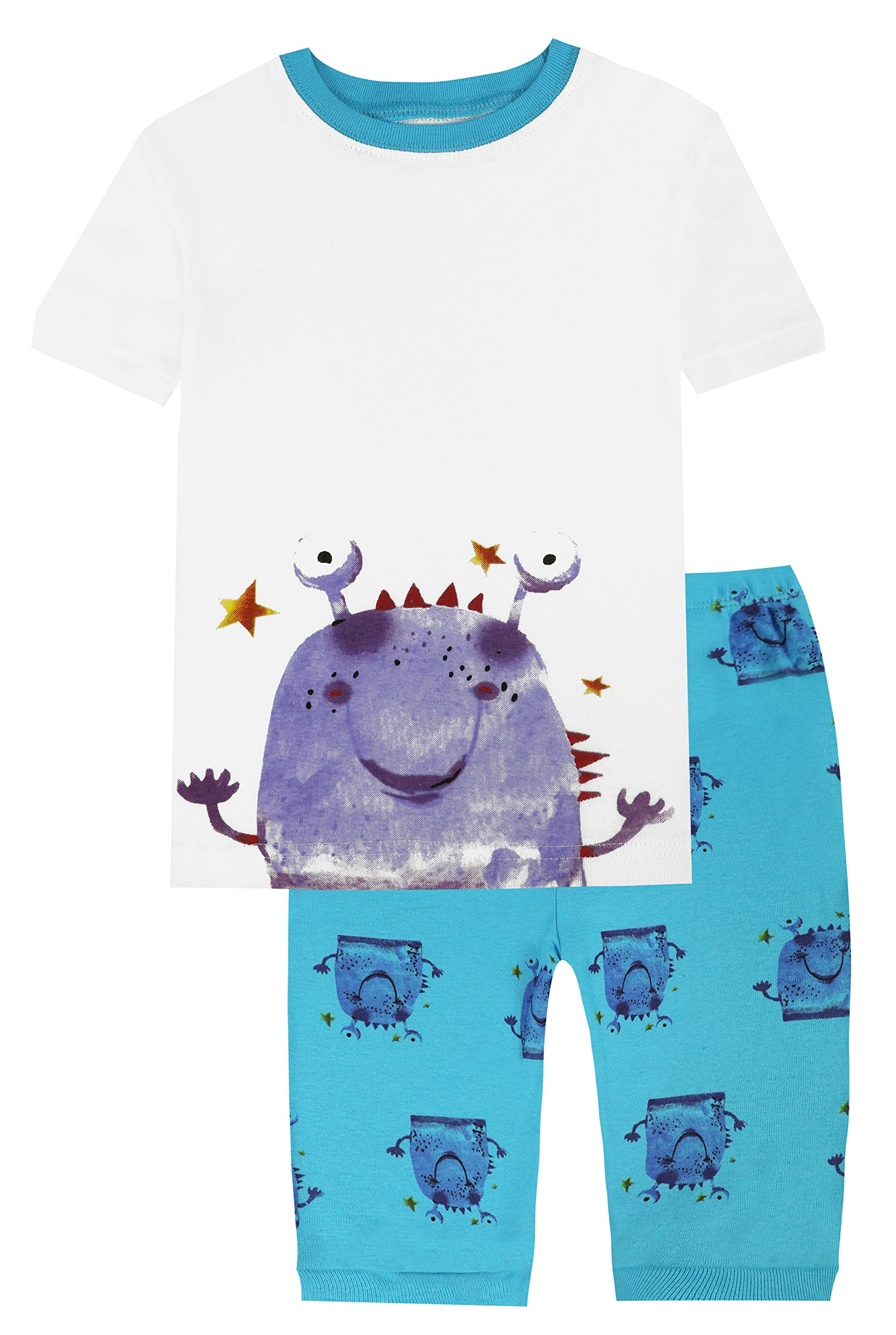 Slenily Little Boys Kids Pajamas Sets 100% Cotton Toddler Pjs Nightwear Size 6,White/Little Monster,