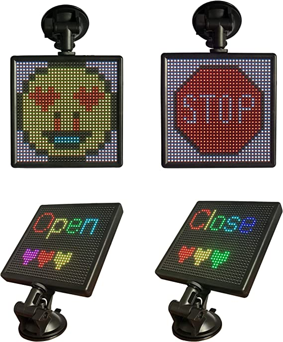 Luixxuer LED Display Screen Controlled Emoji Open LED Sign Bluetooth App for iOS and Android System Car LED Display Screen Picture Lights /& Mini Accent Spotlights