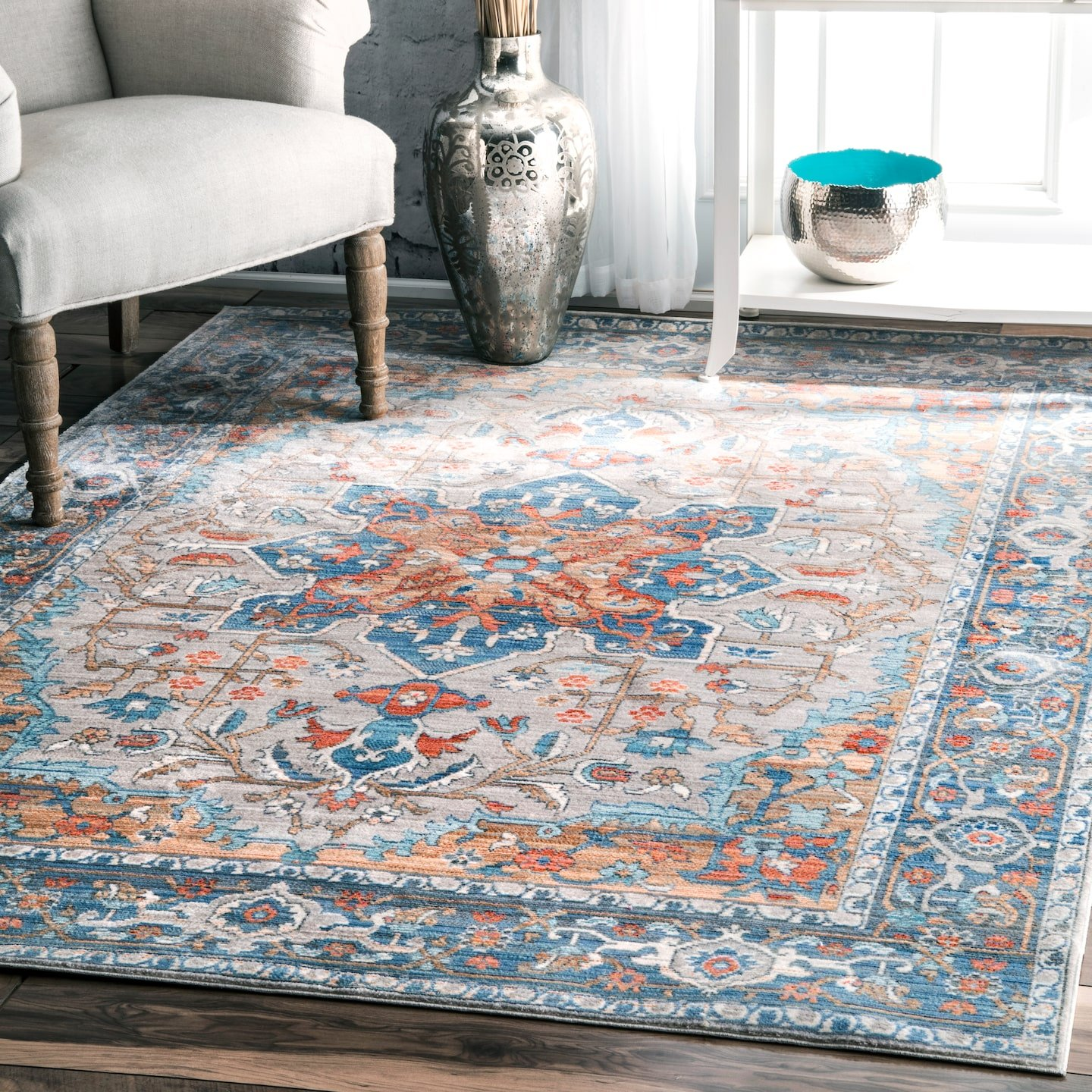nuLOOM Caterina Persian Medallion Area Rug, 5 3 x 7 7 , Grey
