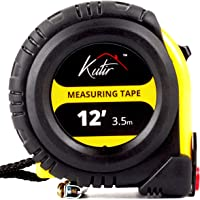 12 Foot Measuring Tape Measure By Kutir - EASY TO READ BOTH SIDE DUAL RULER, Retractable, Heavy Duty, MAGNETIC HOOK, Metric, Inches and Imperial Measurement, SHOCK ABSORBENT Rubber Case