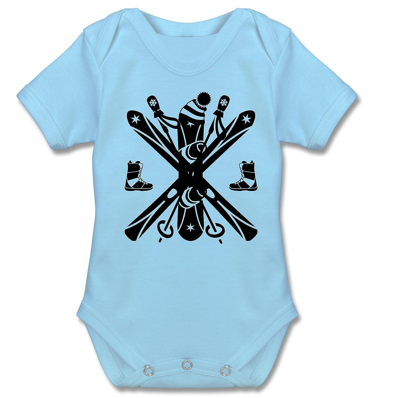 Sport Baby - Ski Snowboard Wintersport - Kurzarm Babybody / Strampler aus Baumwolle für Jungen und Mädchen