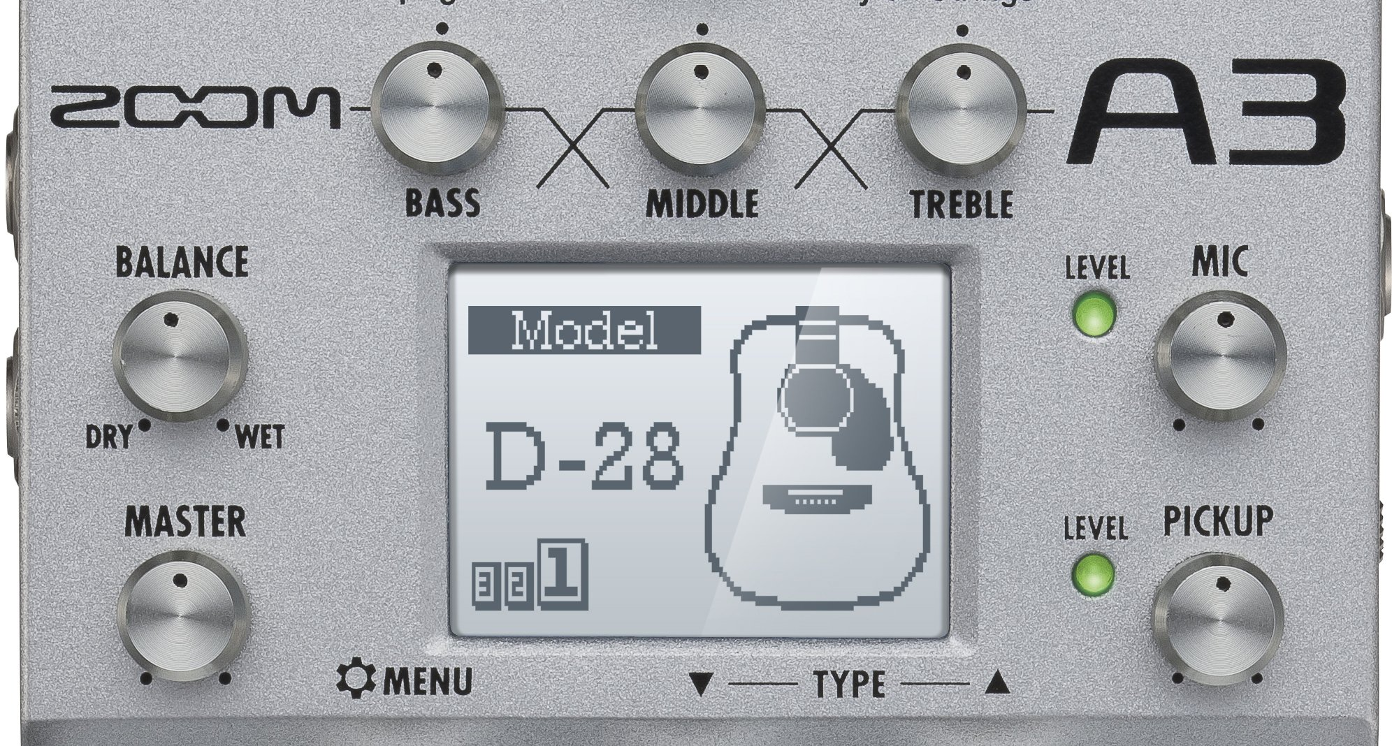 Zoom A3 Pre-Amp and Effects for Acoustic Guitar by Zoom