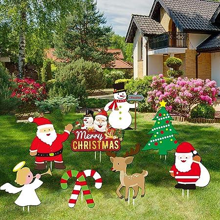 Amazon Com Lskoo Christmas Outdoor Yard Signs Decorations Xmas Holiday Winter Wonderland Yard Sign Outdoor Lawn Yard Decorations Garden Outdoor