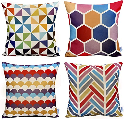 Womhope 4 Pack Colorful Geometric Throw Pillow Covers Pillow Cases Cushion Cases Decorative Burlap Toss Throw Pillow Covers 18 X 18 Inch For Living Room Couch And Bed C Set Of 4 Home Kitchen Amazon Com