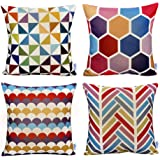 WOMHOPE 4 Pack Colorful Geometric Throw Pillow Covers Pillow Cases Cushion Cases Decorative Burlap Toss Throw Pillow…