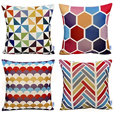 WOMHOPE 4 Pack Colorful Geometric Throw Pillow Covers Pillow Cases Cushion Cases Decorative Burlap Toss Throw Pillow Covers 18 x 18 Inch for Living Room,Couch and Bed (C (Set of 4))